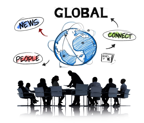 Business People in a Meeting and Global Network Concepts